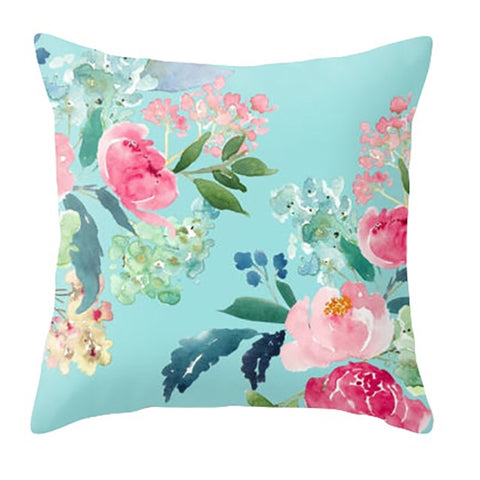 Pink Peony & Turquoise Floral Cushion Cover - Palm Pot & Peony