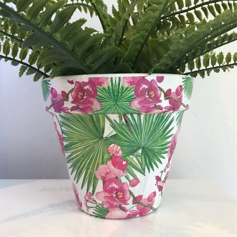 Orchids and Palms Flower Pot 15cm - Palm Pot & Peony