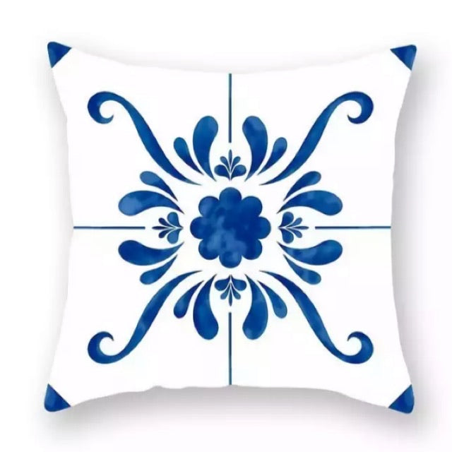Blue and White Cushion Cover - Palm Pot & Peony
