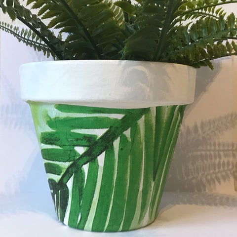 Green Palm Pine Leaf Plant Pot 17cm - Palm Pot & Peony