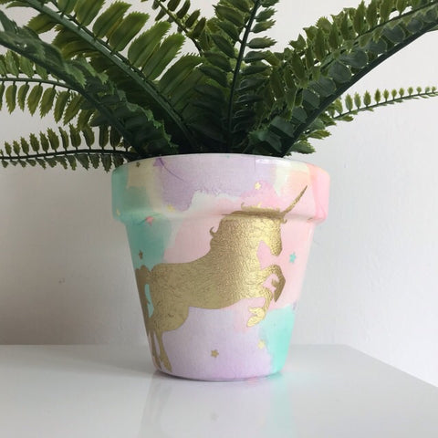 Magical Gold Unicorn Rainbow Flower Pot 13cm - Palm Pot & Peony