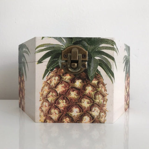 Classic Golden Pineapple Wooden Hexagon Box - Palm Pot & Peony