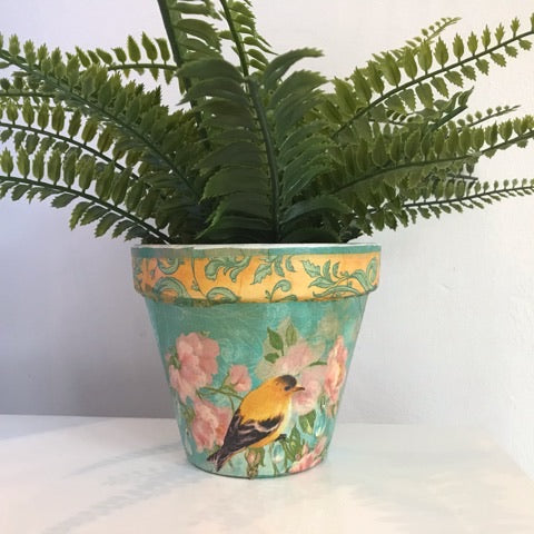 Turquoise and Yellow Birds Flower Pot 13cm - Palm Pot & Peony