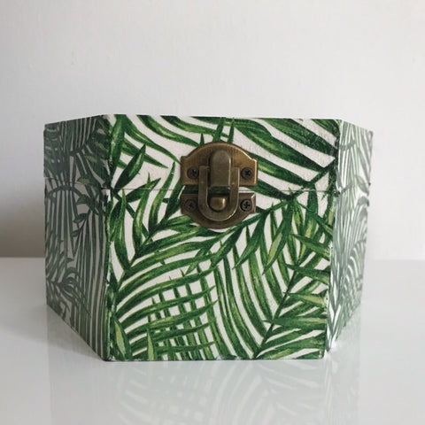 Green Palm Leaf Wooden Hexagon Box