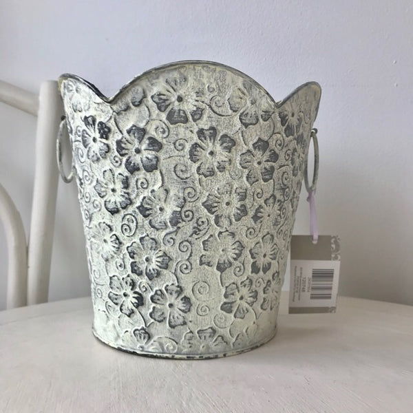 Floral Scandi Boho White Wash Planter Large