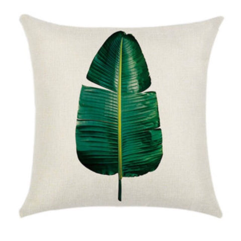 Botanical Tropical Green Leaf Cushion Cover - Palm Pot & Peony