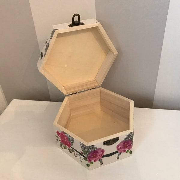 Love Bird & Roses Design Wooden Hexagon Box - Palm Pot & Peony