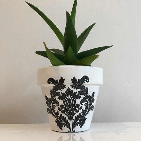 Classic Black White Damask Small Plant Pot 11cm - Palm Pot & Peony