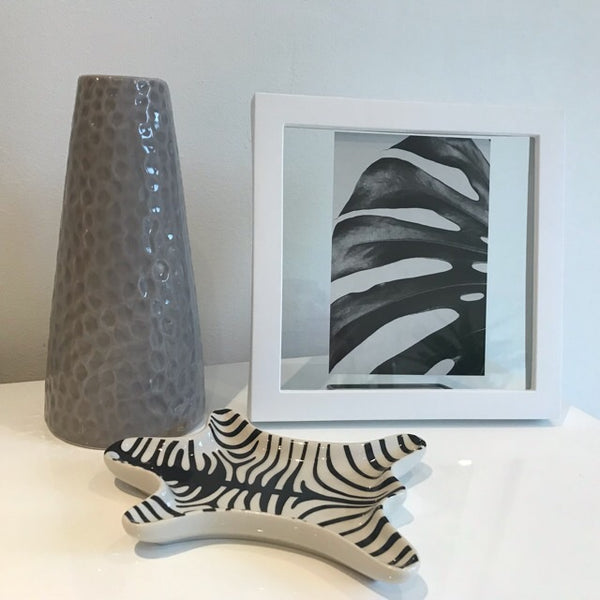 Black White Botanical Leaf and Frame - Palm Pot & Peony