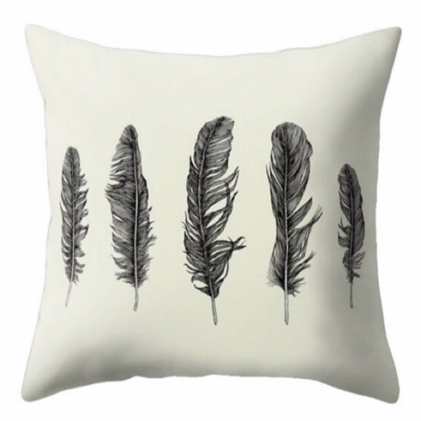 Black Feather Design Cushion Cover