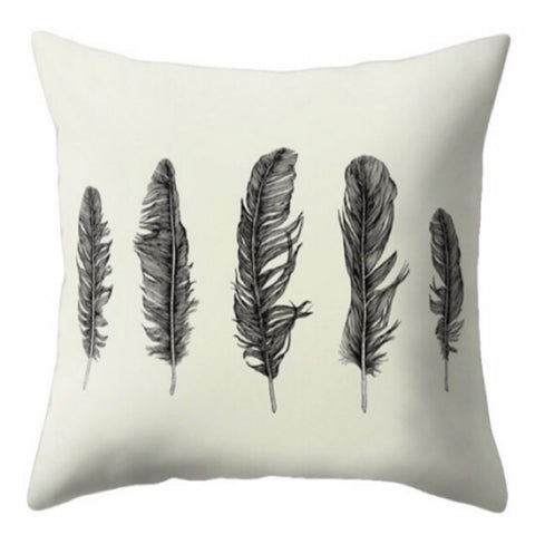 Black Feather Cushion Cover - Palm Pot & Peony