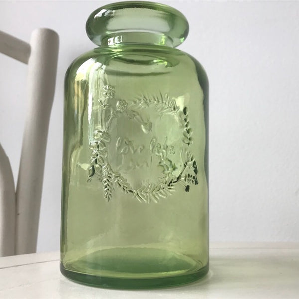 Green Chunky Glass 'Love Life' Bottle Vase