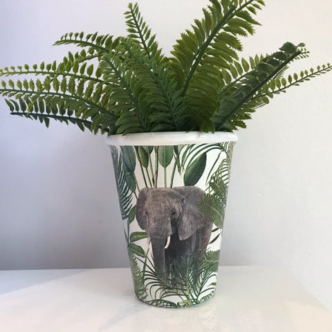Animal Safari Elephant Plant Pot - Palm Pot & Peony