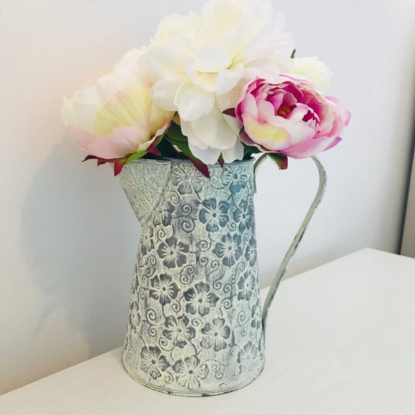 Floral Scandi Boho White Wash Jug