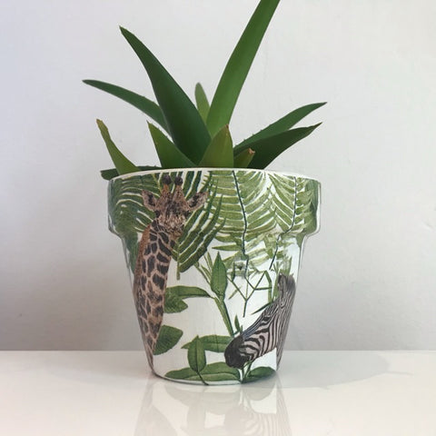 Animal Safari Jungle Plant Pot 11cm - Palm Pot & Peony