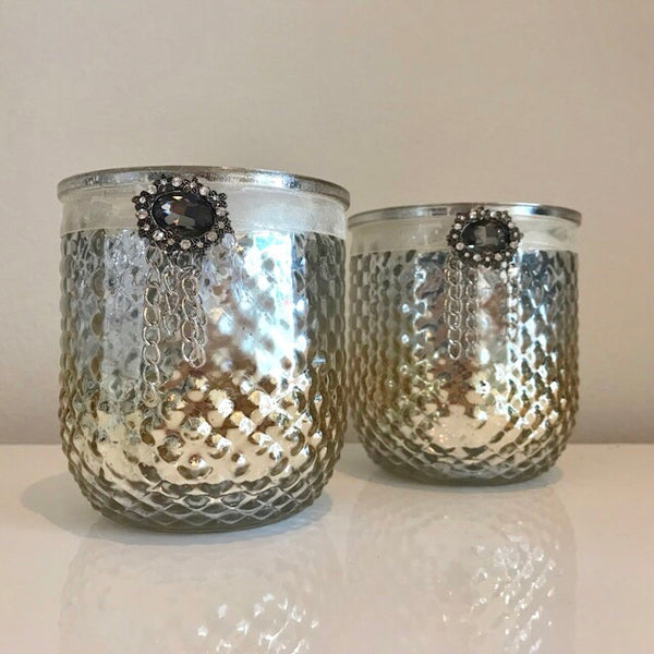 Metallic Gold and Silver Ombre Jewelled Candle Holder - Palm Pot & Peony