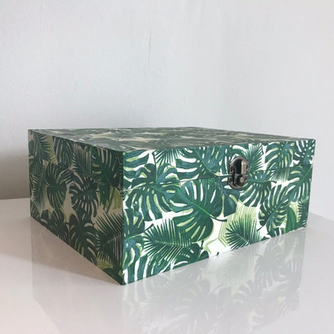 Green Palm Leaves Large Wooden Keepsake Box