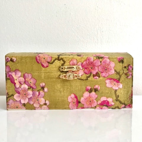Blossom Gold and Pink Keepsake Box - Palm Pot & Peony