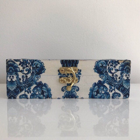 Blue and White Damask Wooden Chest Keepsake Jewellery Box - Palm Pot & Peony