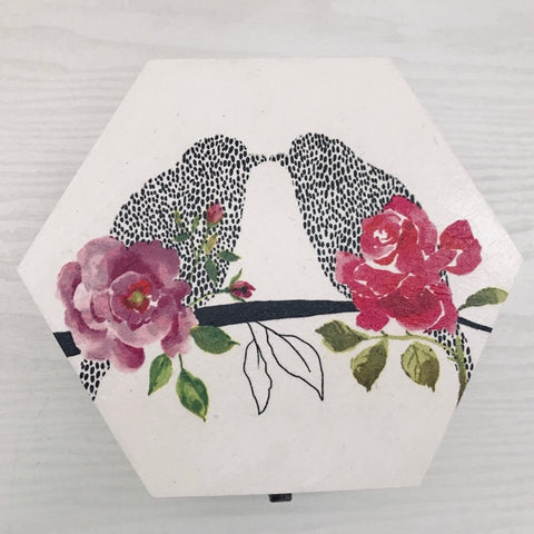 Love Bird & Roses Design Wooden Hexagon Box
