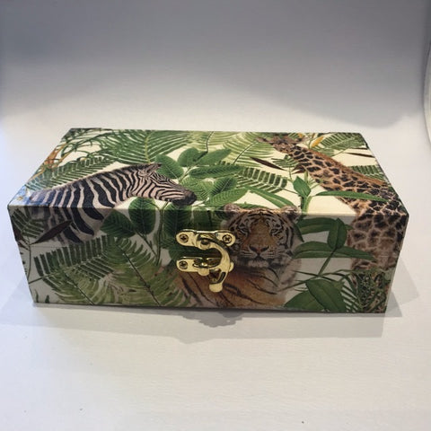 Animal Safari Jungle Wooden Treasure Box - Palm Pot & Peony