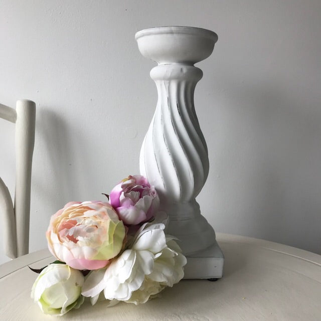 Distressed White Tall Pillar Candle Holder