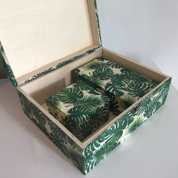Green Palm Leaves Wooden Keepsake Storage Box Set of 3 - Palm Pot & Peony