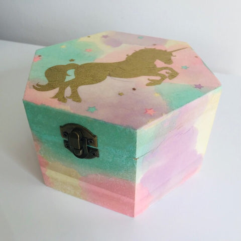 Magical Gold Unicorn Rainbow Design Wooden Hexagon Box