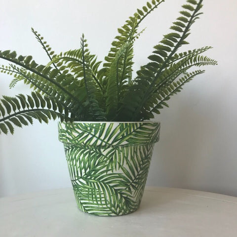 Green Palm Leaf Terracotta Pot 15cm