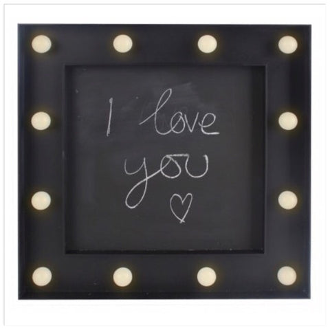 Chalkboard LED Light Up Sign 30cm - Palm Pot & Peony