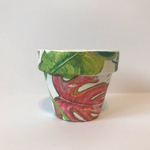 Bright Tropical Palm Leaf Mini Cactus Pot 6cm - Palm Pot & Peony