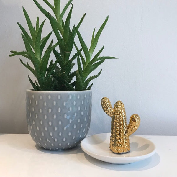 Gold Cactus Ceramic Ring Holder Dish Trinket