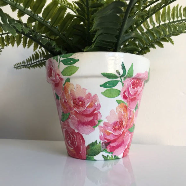 Bunch of Pink Red Roses Plant Pot 13cm - Palm Pot & Peony
