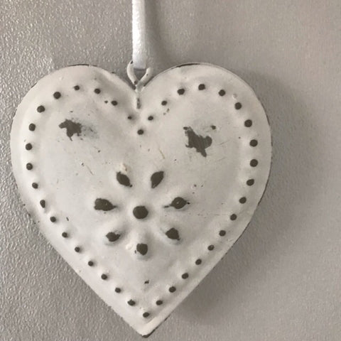 White Metal Hanging Heart Decoration