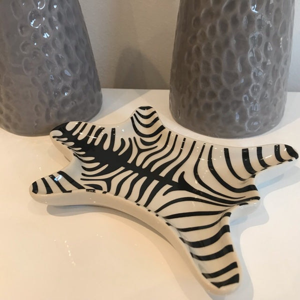 Black White Tiger Stripe Dish Tray