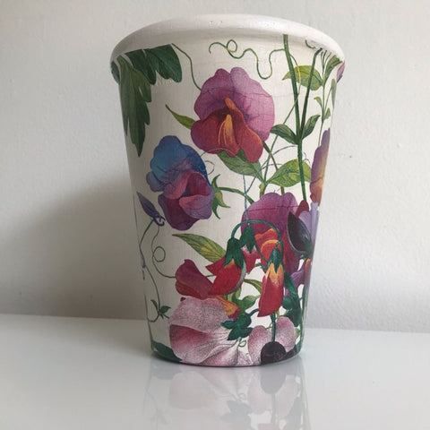 Sweet Pea Flower Tall Plant Pot h17cm - Palm Pot & Peony
