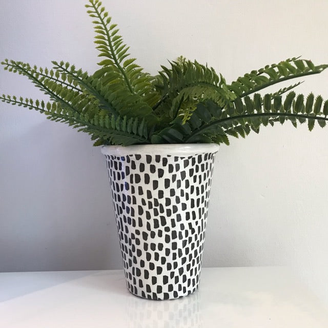 Animal Black White Leopard Print Plant Pot - Palm Pot & Peony
