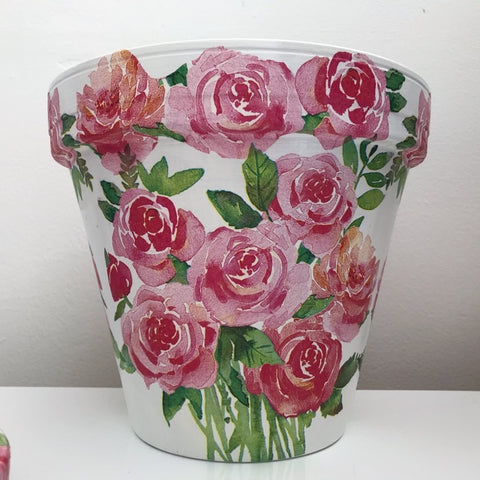 Bunch of Pink Red Roses Plant Pot 21cm - Palm Pot & Peony