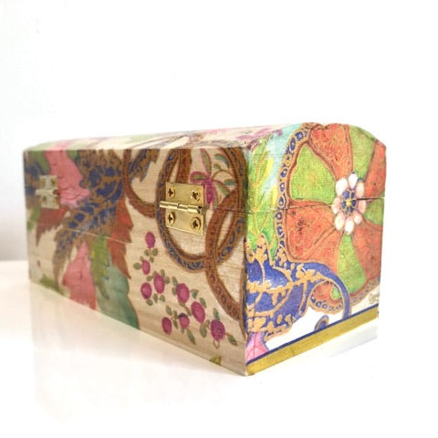 Bright Pink Flower Keepsake Box - Palm Pot & Peony