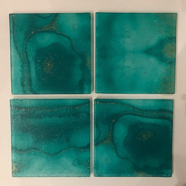 Turquoise & Gold Square Glass Coasters Set of 4