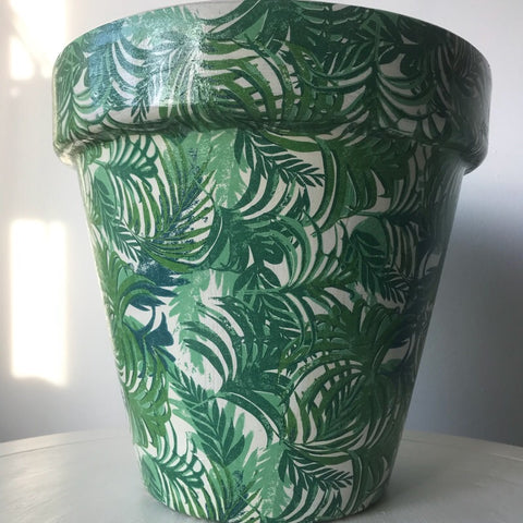 Tropical Palm Leaf Terracotta Planter Extra Large 27cm