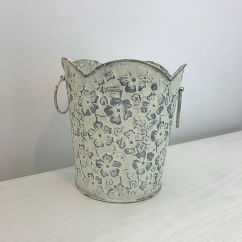 Floral Scandi Boho White Wash Planter Medium