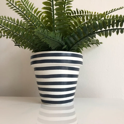 Dark Grey White Stripe Terracotta Pot 13cm - Palm Pot & Peony