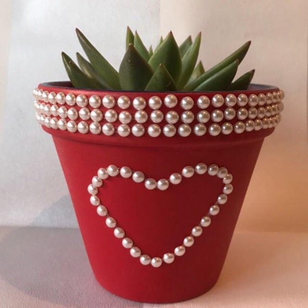 Red Love Heart Medium Plant Pot