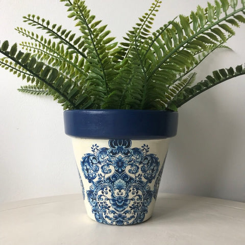 Blue and White Damask Terracotta Plant Pot 15cm - Palm Pot & Peony