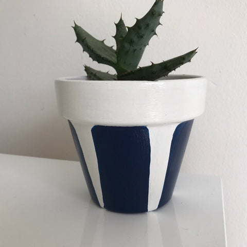 Blue and White Cactus Pot 11cm - Palm Pot & Peony