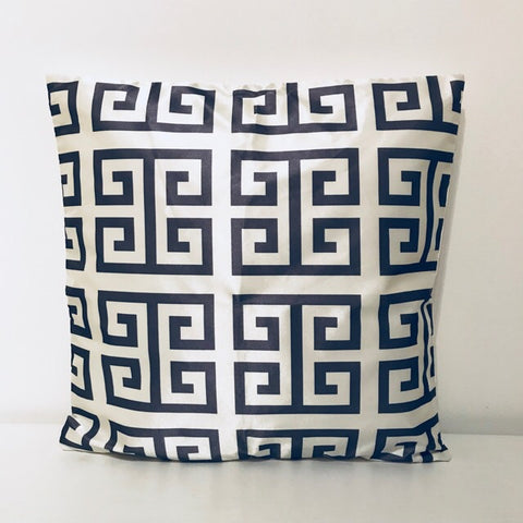 Geo Design Grey Cream Cushion Cover - Palm Pot & Peony