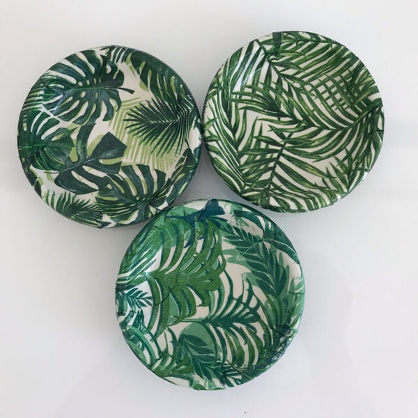 Green Palm Leaves 11cm Terracotta Pots & Saucers Set of 3 - Palm Pot & Peony