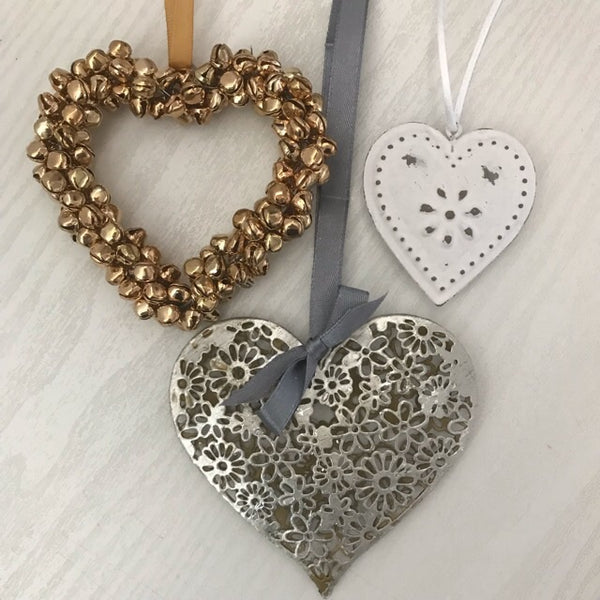 Silver Flower Hanging Heart Decoration - Palm Pot & Peony