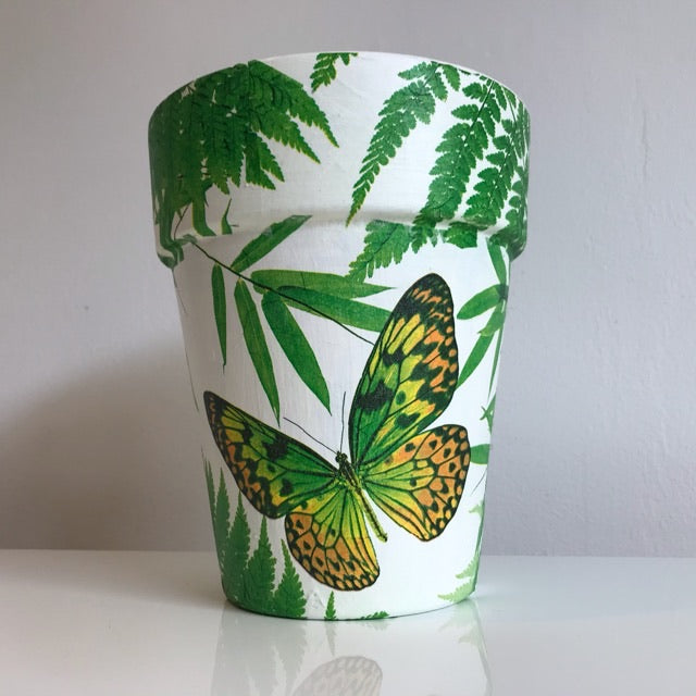 Tropical Leaf and Butterfly Terracotta Plant Tom Pot Tall 17.5cm - Palm Pot & Peony